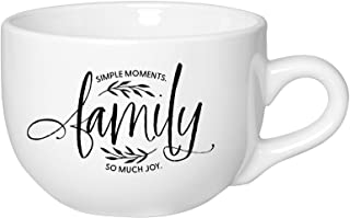 Family Coffee Tea Soup Ceramic Mug | Family - Simple moments. So much joy. | 20 ounce Designer Jumbo Mug with Inspiring Se...