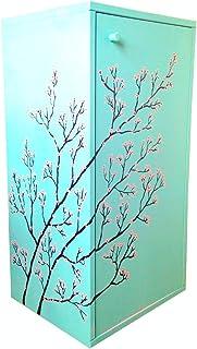 Meuble de rangement, menthe, fleurs de cerisier peint à la main.