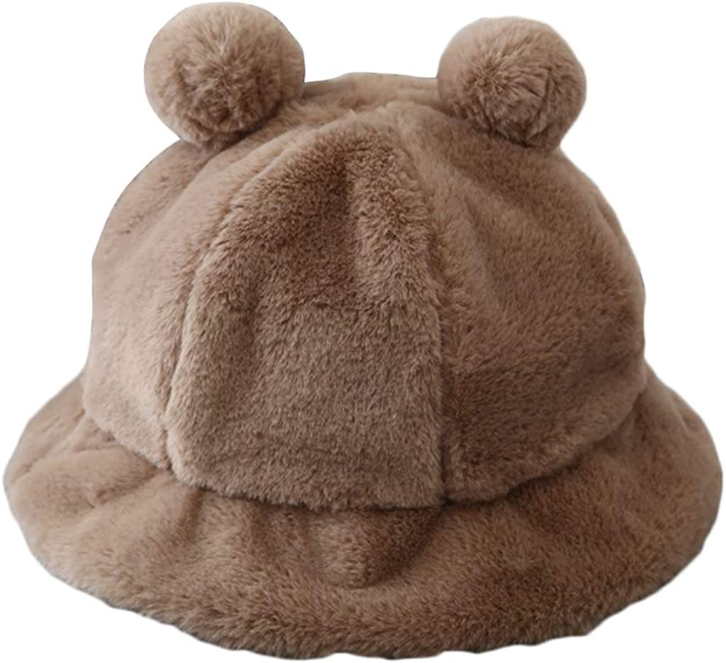 Women Fisherman Beanie Winter Fluffy Plush Beanie Warm Bucket Hat Pompom Bear Ears Cloche Daily Skull Cap