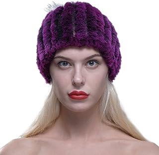 cba5be4ac117a URSFUR Femme Chapeau Avec Pompon En Fourrure De Lapin Bonnet Fille Hiver