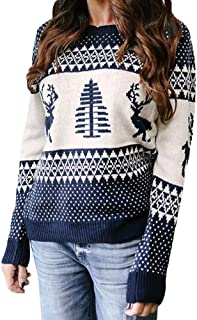 Women's Christmas Sweater Geometric Moose Jacquard Sweater Cardigan Ladies Long Sleeve O-Neck Tree Knitted Pullover Tops