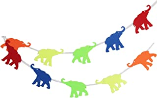 Baby Decorations for Room, Elephant Animal Garland for Animal Themed Baby Shower, Nursery, or Children's Birthday Party. 2mm Thick Felt Material, 10-Foot Long.