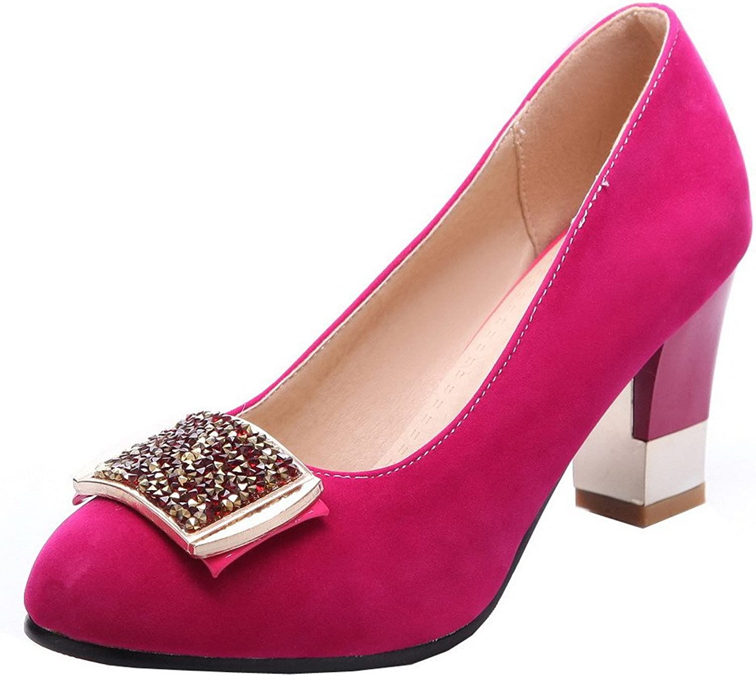 AmoonyFashion Women's Round-Toe Imitated Suede Solid High-Heels Pumps-shoes