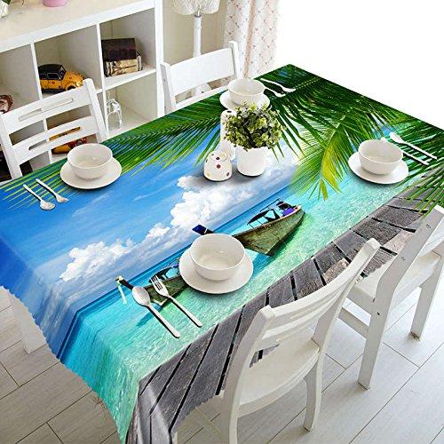 XXDD Mantel 3D Junto al mar, patrón de Paisaje de Playa, Mantel Rectangular a Prueba de Polvo, Año Nuevo A2 140x200cm