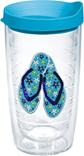 Tervis 1134623 Sequins Flip Flops Insulated Tumbler with Emblem and Turquoise Lid, 16oz, Clear