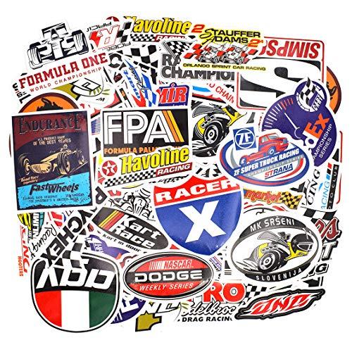 makstore 100 Stücke (50x2) Racing Rennwagen Aufkleber für Laptop Handy Auto Motorrad Fahrrad Graffiti Patches Skateboard