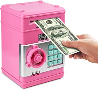 Setibre Piggy Bank, Electronic ATM Password Cash Coin Can Auto Scroll Paper Money Saving Box Toy Gift for Kids