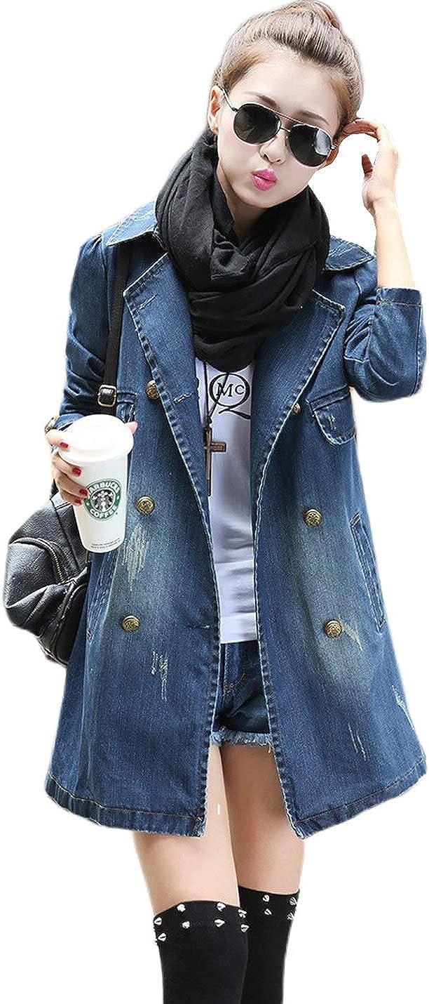 D.B.M Women's Lapel Long Sleeve Double-Breasted Mid-Length Denim Jacket