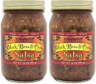 All-Natural Black Bean and Corn Salsa by Dennis' Gourmet | This Fresh, Hearty Restaurant Salsa is Low Sugar, Low Cal, Low Carb, Low Sodium, and Gluten Free! (2-Pack)