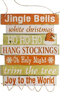 LIOOBO Feliz Navidad Cartel Puerta Delantera Cartel Colgante Madera Navidad Pared Ventana decoración Santa Claus Navidad Adornos decoración