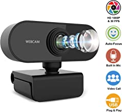 1080P HD Webcam with Microphone, Video Call Available Pro Streaming Web Camera, Widescreen USB Computer Camera for PC Mac Laptop Video Calling Conferencing Recording (Black)
