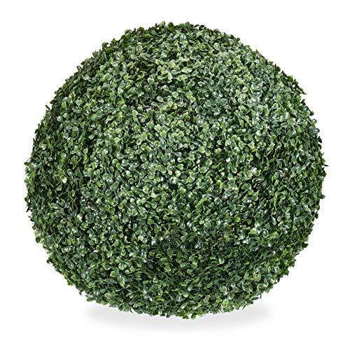 Relaxdays Buchsbaum künstlich, runde Dekopflanze, Buchsbaumkugel, Buchskugel Kunststoff, wetterfest, Kugel 38 cm Ø, grün