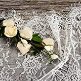 PZXHRY 2 Pack Lace Table Runner 14 x 120 Inch White for Rustic Boho Wedding Bridal Shower Party Vintage Decoration Classy Rose Embroidered Reception Table Runners Decor