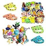 Gxhong Pokémon Ensemble de Jouets, 24 Pièces Mini Figures + 20 Pièces Autocollants Pokémon + 12 pièces Bracelet en silicone lumineux, Enfants Pokémon Jouets Cadeaux de Fête