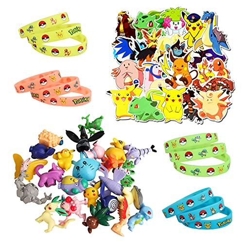 Gxhong Mini set di giocattoli Pokémon, 24 Pezzi Mini Figure + 20 pezzi Pokemon adesivi per bambini + 12 Pezzi Braccialetto in Silicone Luminoso, giocattolo regalo per feste per Bambini e Adulti