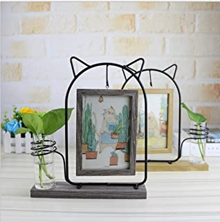 leyoubei Black Metal Cat Rectangular Double-Sided Picture Frame Holds 2 pcs 4x6 inch Vertical Pictures with Glass Front for Desk,with Hydroponics or Artificial Plants Glass Vase-Wedding (Gray)