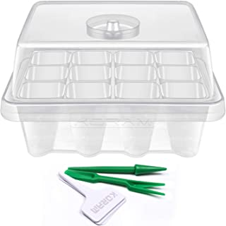 KORAM 10-Pack Seed Started Tray 120 Cells Clear Seedling Starter Tray Humidity Adjustable Seed Starter Kit with Lid Base Plant Tags and Hand Tool Kit (C12)