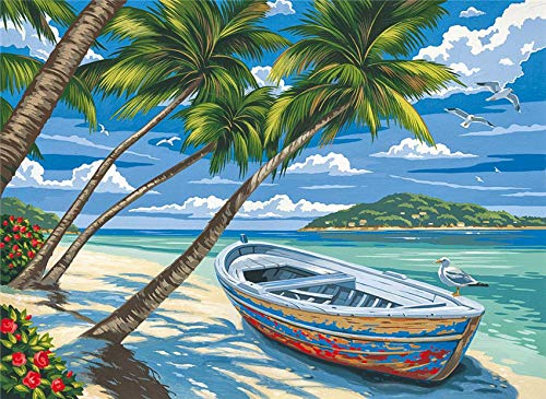 DIY pintura digital embalaje digital junto al mar barco de coco para colorear arte de la pared imagen regalo 50x65cm A