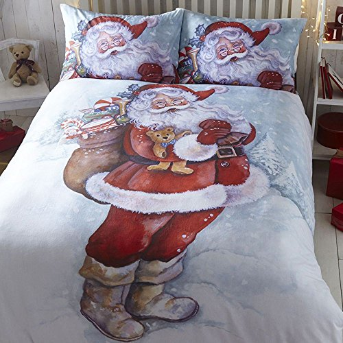 Tony's Textiles Father Christmas Santa Claus Snow Quilt Duvet Cover Bedding Set (Super King)