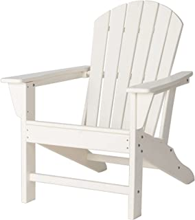 Elm Plus JK89002W Adirondack Chairs Fade-Resistant, All-Weather Perfect for Outdoor, Porch, Deck, Garden, and Lawn, White