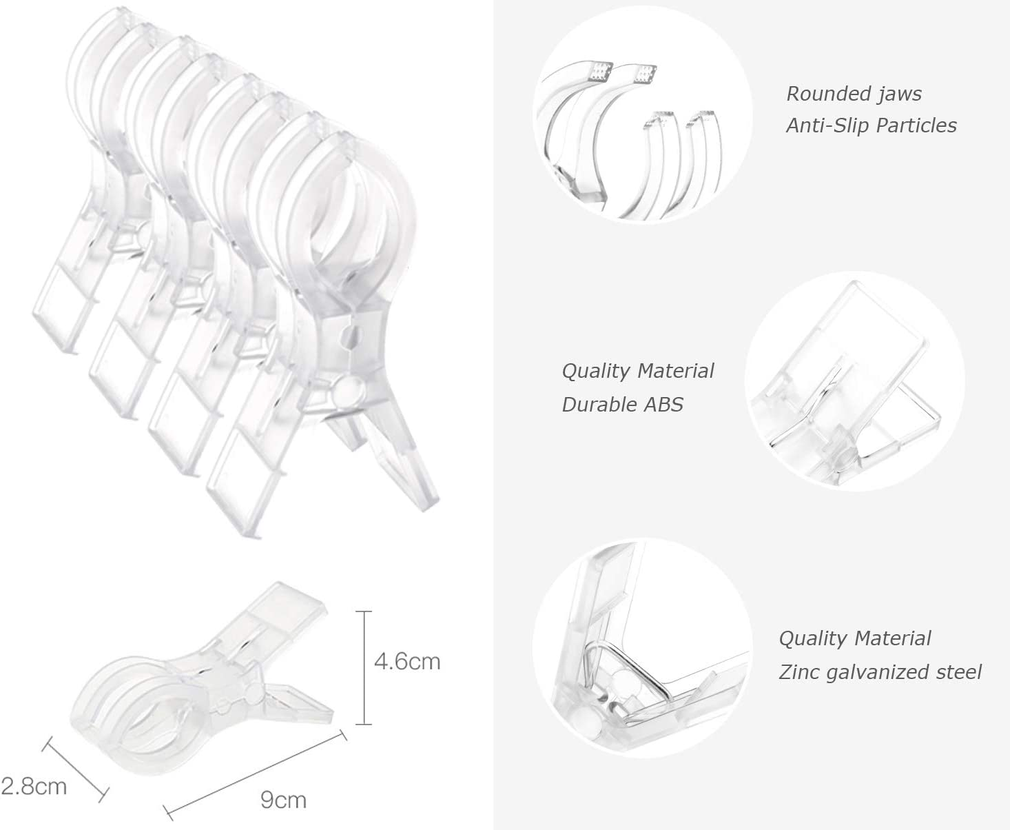 Clear, 12 pcs Omephy 12 Pack Clear Beach Towel Clips Chair Clips Towel Holder Quilt Clips Translucent White