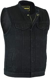 Men's Motorcycle Biker SOA Club Style Black Denim Vest with Inside Gun Pockets