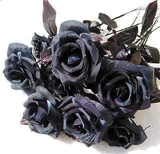 Bivilictek 10Pc Artificial Flowers Black Roses Bouquets Silk Plant Wedding Halloween Christmas Garden Outdoor Home Decor (Black Rose)