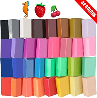 Super Valuable 32 Colors Small Block Polymer Clay Set Oven Bake Clay, Tomorotec CPSC Conformed Non-Toxic Moleding DIY Clay Oven Baking Clay for Kids, Adults, Artists (Softer)