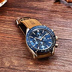 BENYAR Classic Fashion Elegant Chronograph Watch Casual Sport Leather Band Mens Watches (Brown-Blue) #5