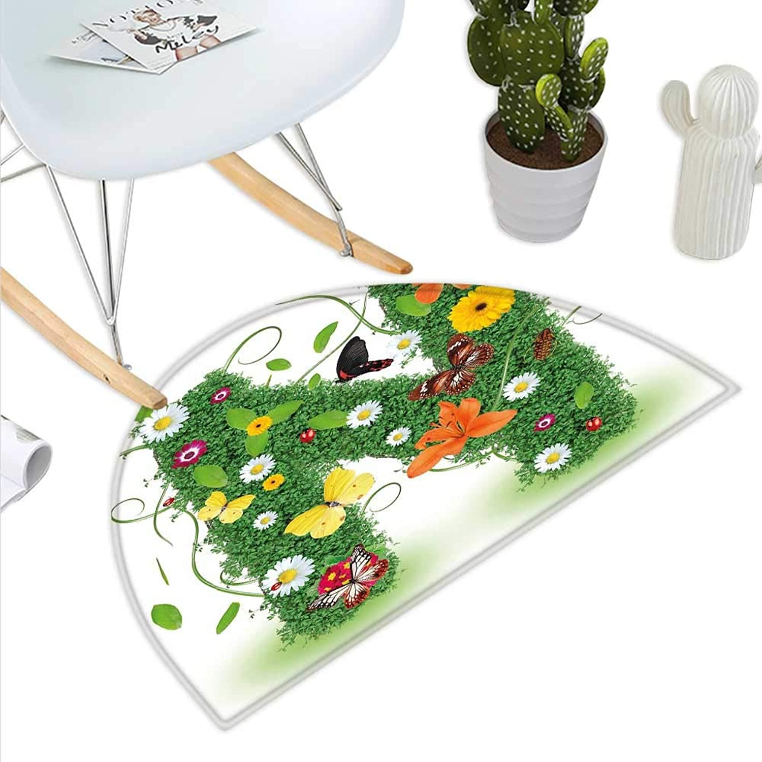 Letter N Semicircle Doormat Chamomile Daisy Gerbera Blooms and Green Leaves colorful Butterflies Nature Halfmoon doormats H 43.3  xD 64.9  Green Multicolor