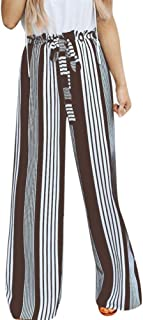 LISTHA Striped Wide Leg Pants for Women High Waist Loose Long Trousers Lace up