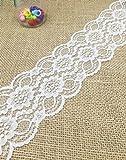 Yulakes 9,1m bianco pizzo perline nastro di pizzo elasticizzato pizzo fiore treccia da sposa in pizzo decorazione nastro, artigianato, Macinazione nastro 8cm larghezza (bianco)