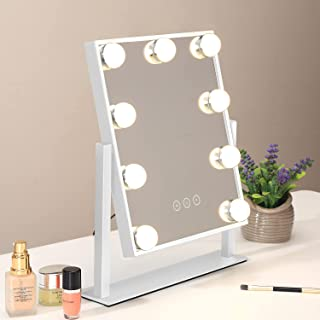 آینه وانیت هالیوود با چراغ ، آینه آرایشی روشن ، آینه بزرگ با نور با 3 حالت روشنایی ، بزرگنمایی قابل جدا شدن 10 برابر ، رومیزی یا دیواری ، سفید