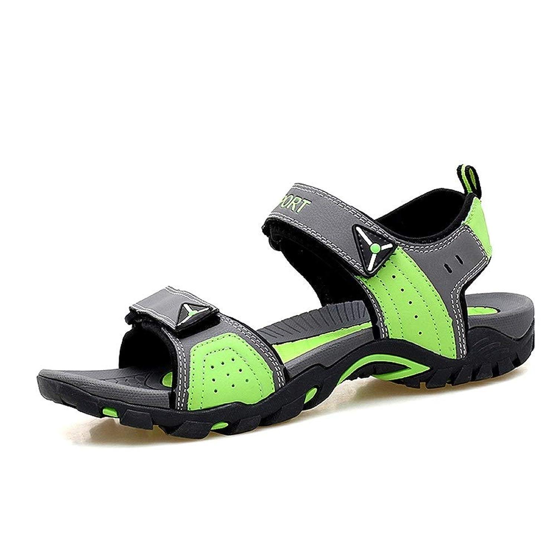 [Jusheng-shoes] メンズシューズ 男性と女性のためのサンダルアウトドアウォーターシューズスリップオンPUレザーフック&ループストラップマッチカラー カジュアルシューズ