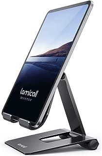 Lomicall 折り畳み式 スマホ タブレット 兼用 スタンド ホルダー 角度調整, iPad用 stand : アルミ 合金製 卓上 縦置き 横置き すたんど, タブレット 置き 台, 固定, おき, 立て かけ, たてかけ, ゲーム 用,...
