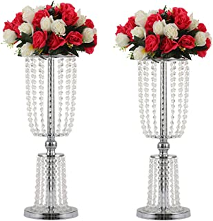 LANLONG 2Pcs Acrylic Crystal Centerpiece Wedding Backdrop Flower vase Candleholder Table Stand Party Decoration Road Lead Frame Wedding decorationDecor Decorations Room Decoration (Silver, 23.75