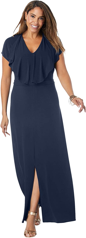 Jessica London Women's Plus Size Ruffle Maxi Dress