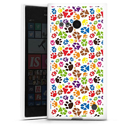 DeinDesign Silikon Hülle kompatibel mit Nokia Lumia 730 Hülle weiß Handyhülle Pfoten Tiere H&