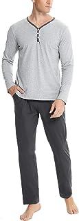 Aibrou Pyjama Homme Hiver Coton, Ensembles de Pyjama Homme 95% Coton Simple et Élégant Vêtements de Nuit Doux Loungewear