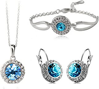 MAFMO White Platinum Plated Crystal Round Shaped Necklace Bracelet Earrings Set Women Fashion Jewelry