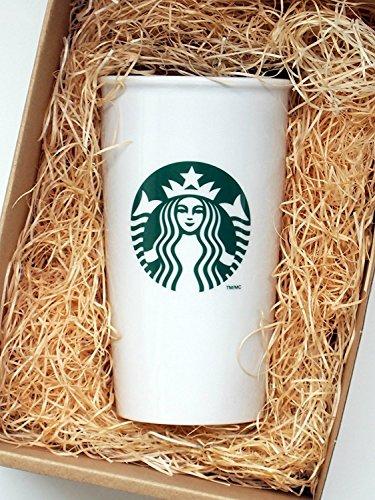 Starbucks-Becher für unterwegs aus Keramik, weiß, für Kaffee und Tee, 355 ml