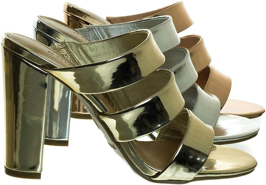 Women Dress Shoes Bamboo Details about  /Headline-12 Block Heel Triple Strap Slide Sandal Mule