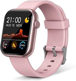 Reloj inteligente, rastreador de fitness con monitor de frecuencia cardíaca, IP67 resistente al agua reloj de fitness con podómetro, reloj inteligente compatible con iOS, Android para hombres, mujeres, color rosa