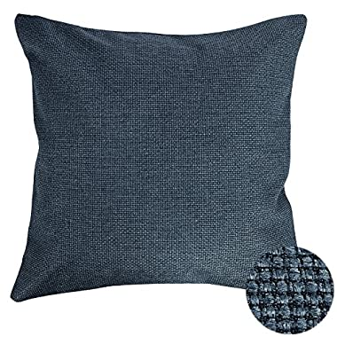 Deconovo Woven Fine Faux Linen Decorative Pillows Hand Made Pillow Case Cushion Cover For Sectional 18x18 Inch Dark Blue