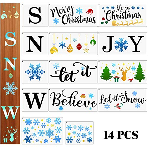 14 Pieces Snow Stencils Christmas Stencils Snowflake Stencil Merry Christmas Painting Stencils Reusable Templates for Painting Wood Wall Art