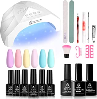 Beetles Pastel Gel Nail Polish Starter Kit with 48W UV/LED Light Nail Lamp Base Top Coat (3 Timer Setting), Soak Off UV Gel Polish Set Color Spring Summer Gel Manicure Kit Tools Essentials Nail Art