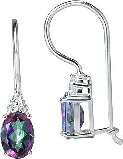 1.76ct. Mystic & White Topaz 925 Sterling Silver Hook Earrings