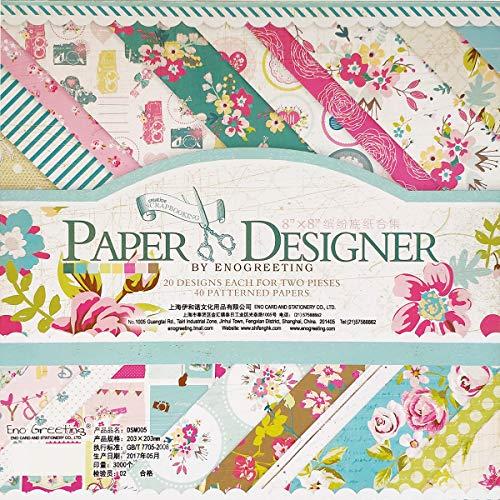 YXJD 40 Blatt Scrapbooking Papier Gemustertes Karton Bastelpapier mit Vintage Design für DIY Handwerk Foto Hintergrund Deko 8x8 Zoll (005)