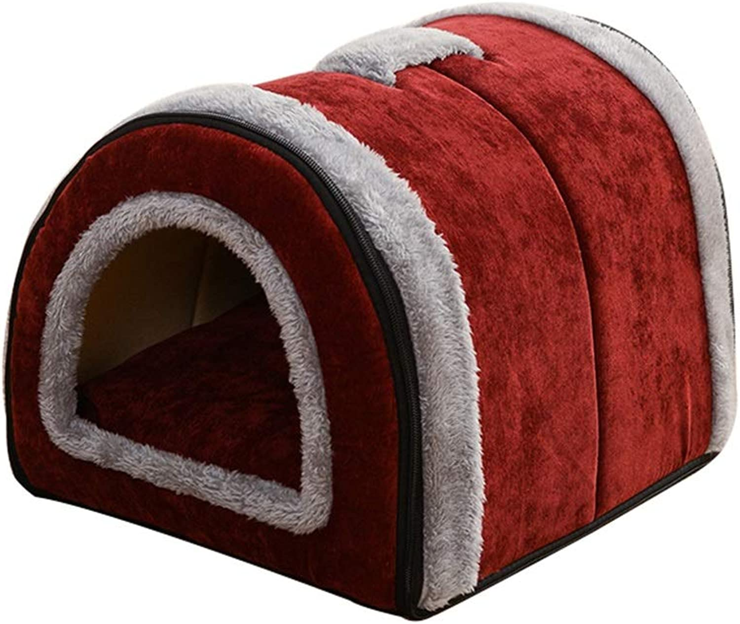 Pet House 2 In 1 Pet House And Sofa, Nonslip Foldable Soft Warm Cat Puppy Pet Nest Cave Bed House With Removable Cushion 4 Sizes (color   C, Size   Xl)