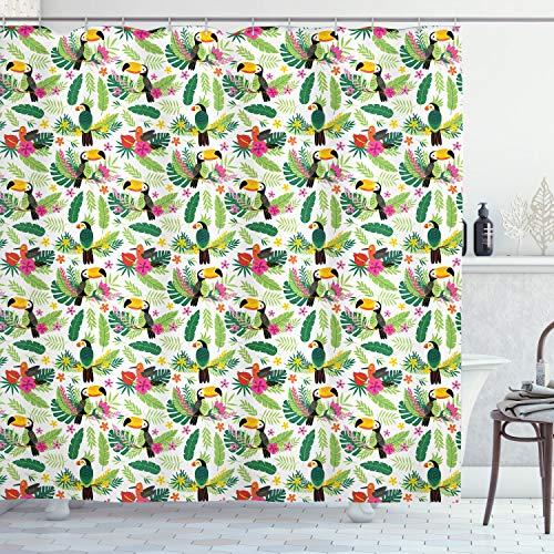 ABAKUHAUS Papagei Duschvorhang, Jungle Flora & Fauna, mit 12 Ringe Set Wasserdicht Stielvoll Modern Farbfest & Schimmel Resistent, 175x200 cm, Mehrfarbig